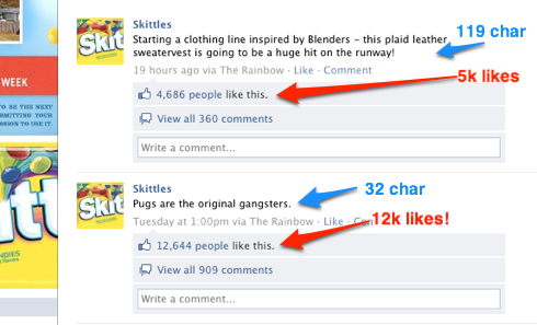 Skittles Facebook Wall showing how less text in status updates results in more likes