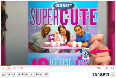 Screen Shot of Old Navy Ad displaying the Shazam Icon on YouTube