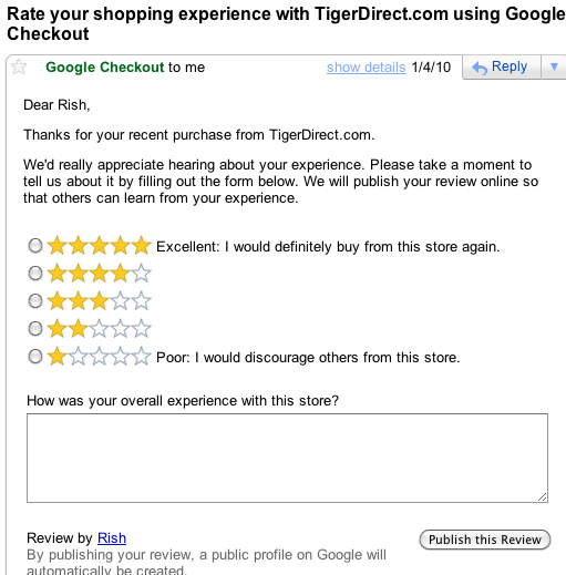 Google Checkout Feedback Email