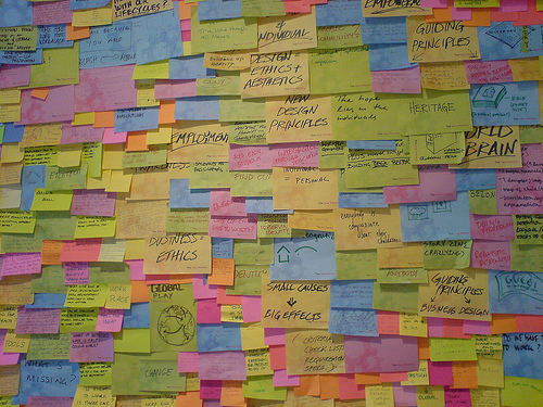 What a Brainstorm looks like - Post It Notes Everywhere!