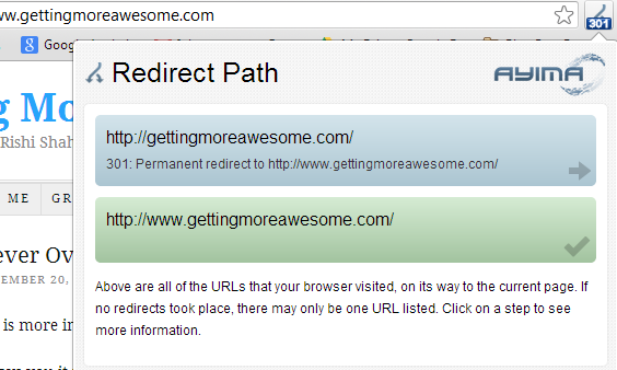 redirect path screen shot