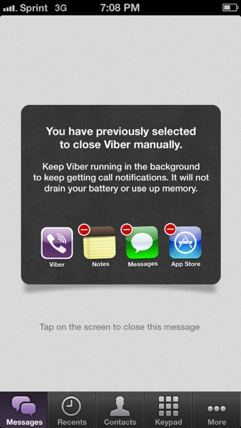 Don't Kill the Viber App Screen
