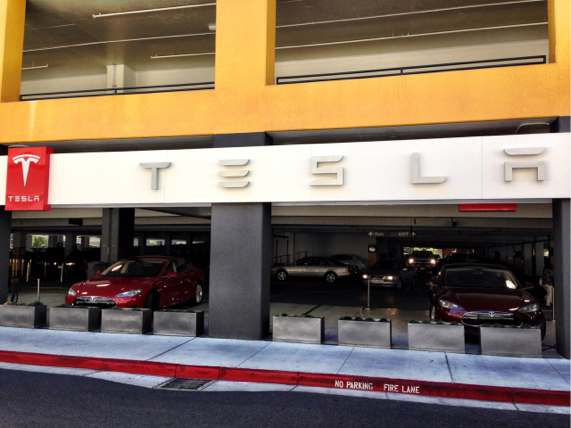 Tesla Dealership in Parking Garage