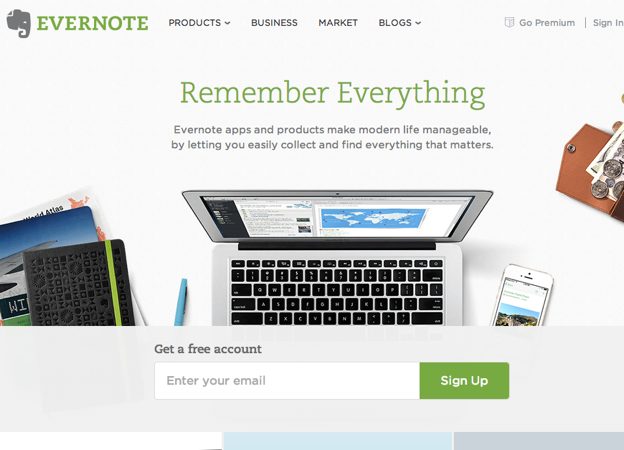 Evernote Homepage Nov 2013